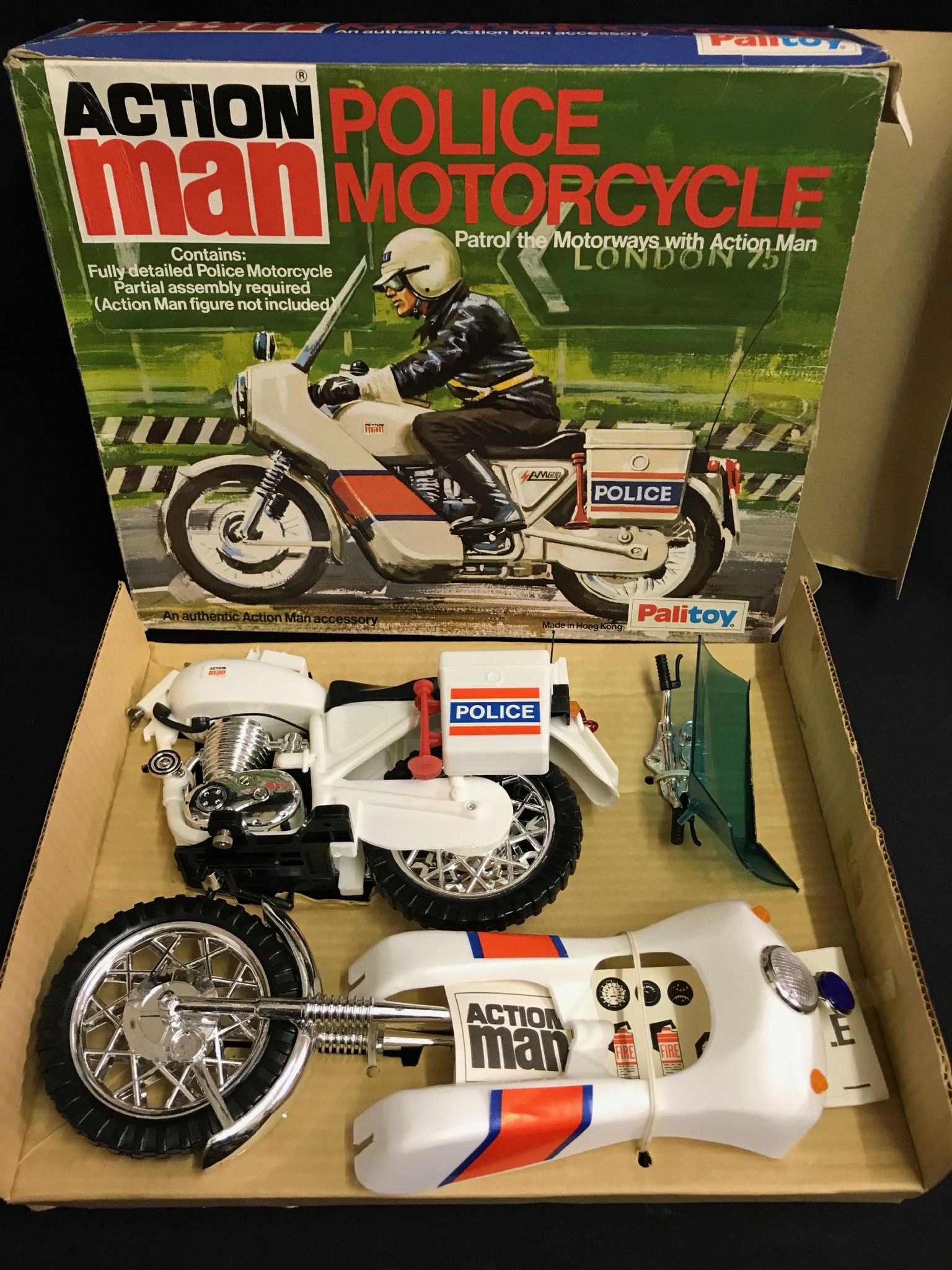 vintage action man police motorcycle old shop stock mint ref3. Black Bedroom Furniture Sets. Home Design Ideas
